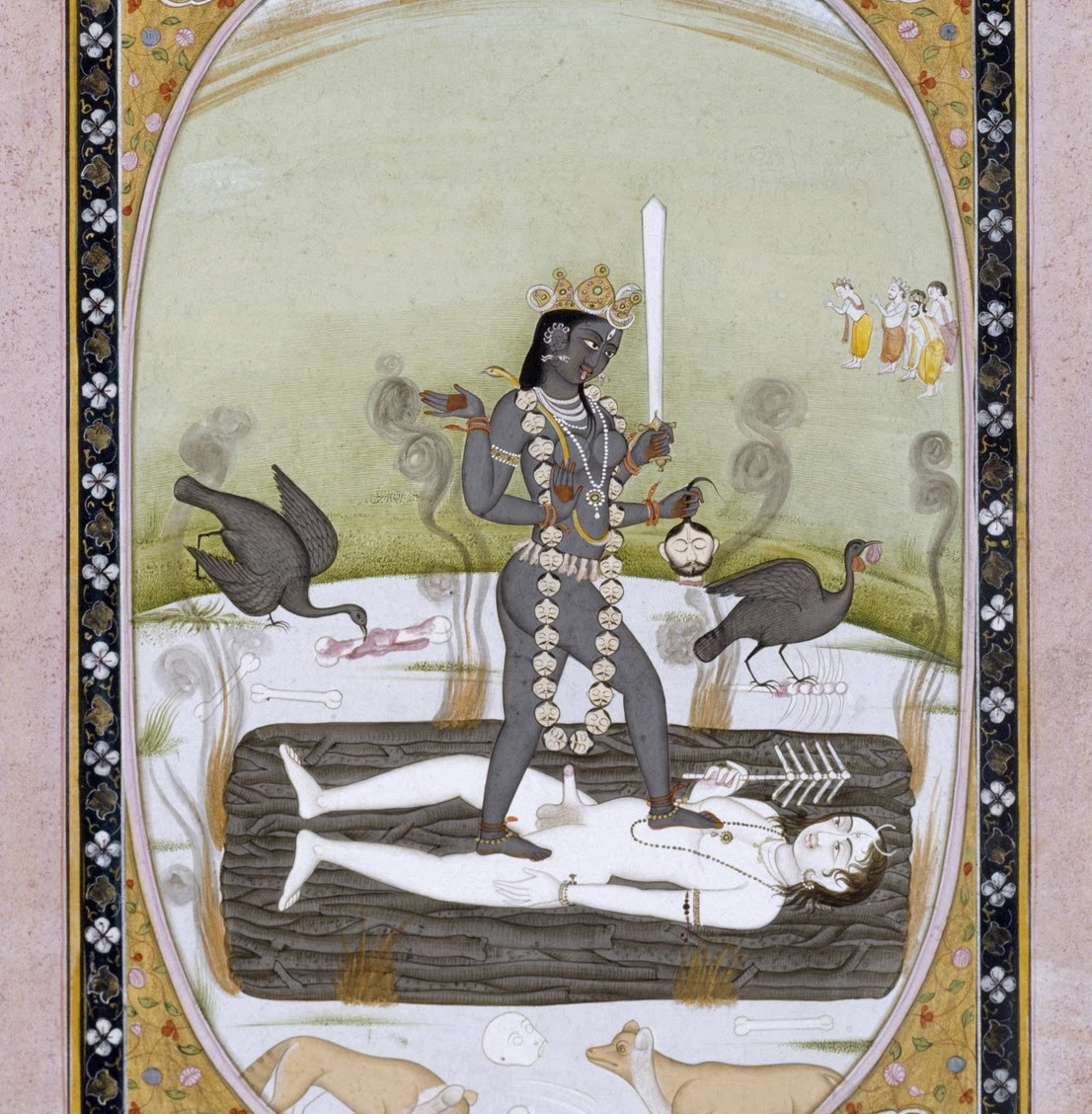 Goddess Kali on Shiva - Kangra Painting (1800 - 1825)